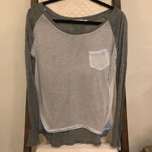 Chloe K color block long sleeve baseball tee shirt